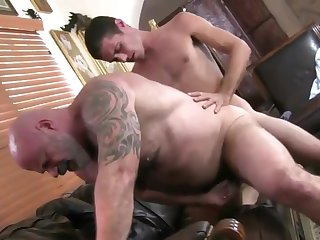 blowjob, big cock, cumshot, gay, tattoo,