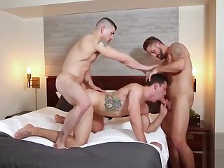 blowjob, bareback, gay, threesome, ,