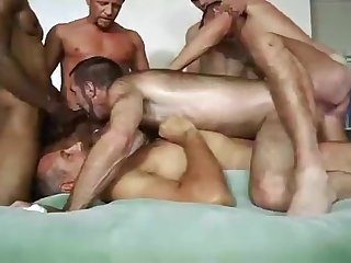double penetration, bareback, bear, gangbang, gay, group sex