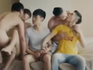 chinese, group sex, twink, blowjob, gay, asian