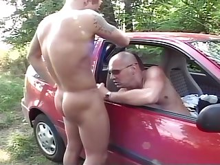 brunette, blowjob, couple, handjob, masturbation, outdoor