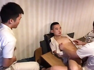 young, chinese, boys, after, work, threesome