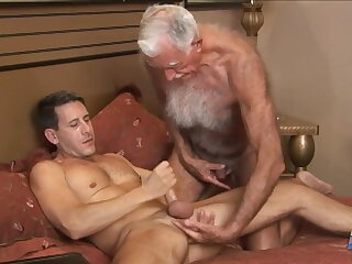 grandpa, hairy, mutual, masturbation, with, younger