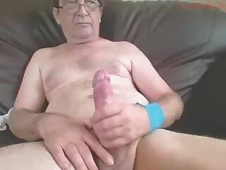 friendly, cute, grandpa, wanks, his, big