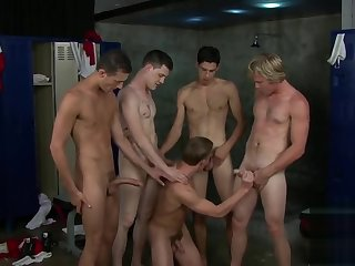 blowjob, big cock, gay, group sex, locker room, twink