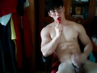 gay, cumshot, asian, hunk, solo male,